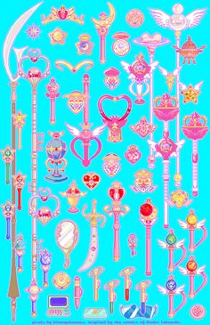 """bitmapdreams: """" some of my sailor moon pixels recolored with my palette ♪ this year marks five years since I first drew them, and I'm loving how fresh this makes them look ☆ """" Sailor Moon Phone Case, Sailor Moon Gif, Sailor Moon Wallpaper, Sailor Moon Crystal, Sailor Moon Weapons, Sailer Moon, Catty Noir, Anime Girls, Fantasy Weapons"""