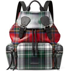 b8d198c6f8ae Burberry Leather-trimmed tartan coated-canvas backpack (84.035 RUB) ❤ liked  on Polyvore featuring bags