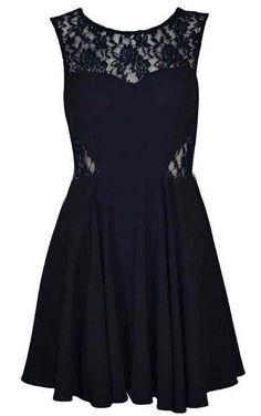 Vestido gasa encaje cuello redondo sin mangas-Negro