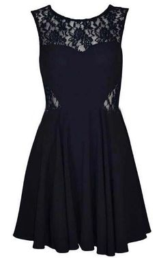 Black Round Neck Sleeveless Lace Chiffon Dress