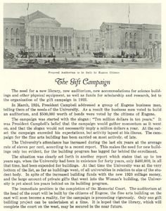 Gift campaign to fund construction of new buildings on campus and proposed structures in 1927.  From the 1927 Oregana (University of Oregon yearbook).  www.CampusAttic.com