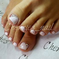 White Rhinestone Toe Nail Art