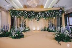 Image may contain: indoor Wedding Backdrop Design, Wedding Stage Design, Wedding Hall Decorations, Wedding Reception Backdrop, Wedding Mandap, Backdrop Decorations, Enchanted Forest Centerpieces, Navy Blue Wedding Theme, Wedding Mood Board