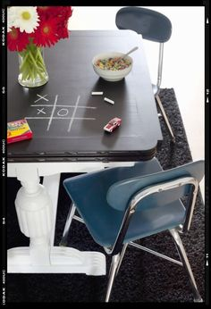 paint dining tabletop with chalkboard paint. paint legs a light bright color. accent details with a darker contrasting color. (yellow/black?) Distress and seal legs.