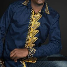 Embroidered Men's Shirt African Embroidered Shirt by PageUk