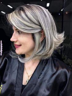 New hair color blonde grey products Ideas Long Gray Hair, Silver Grey Hair, White Hair Highlights, Transition To Gray Hair, Hair Color And Cut, Short Bob Hairstyles, Great Hair, New Hair, Hair Inspiration