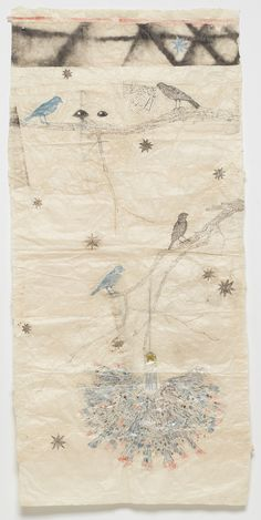 "Kiki Smith, 2010. ink on Nepal paper with glitter, silver and gold leaf, 59-3/8"" x 28-1/4"" (150.8 cm x 71.8 cm)."