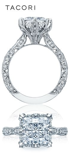 It is all in the details! Marquis shaped designs create the ceiling on this unique princess cut stunning beauty. With diamonds surrounding the perfectly engineered crown, this Tacori engagement ring from the RoyalT collection, cannot be missed. A true 5 table ring (can be seen 5 tables away), you will be the center of attention no matter where you go.