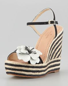 S00BB kate spade new york lainey striped espadrille wedge, black