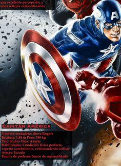 Capitan America: Superhero description poster in Spanish http://spanishplans.org/store/posters-2/