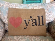 Hand stenciled burlap pillow cover 14 x 18 on Etsy, $30.00