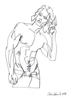 """body 6″, continuous line drawing by Boris Schmitz"