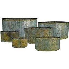 Corrugated Zinc Metal Cylinder Vases, Pots, Planters - Set of 6
