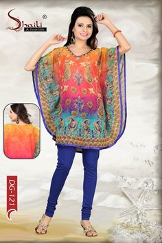 Skewbald Smart Digitally Printed Kaftan Tunic Top by Snehal Creation