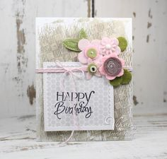 Birthday card by Teresa Kline using the Happy Birthday plain jane from Verve. #vervestamps
