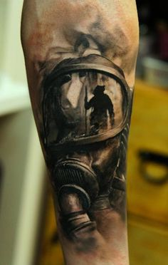 Firefighter's mask tattoo (arm) | Shared by LION