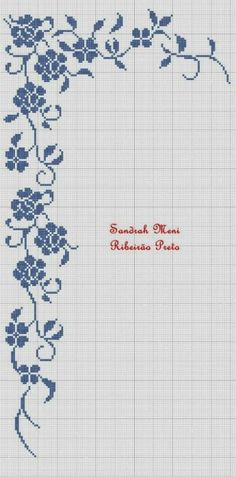 filet crochet border of roses and viny leaves with art deco look Filet Crochet, Stitch Crochet, Crochet Borders, Cross Stitch Borders, Cross Stitch Flowers, Cross Stitch Charts, Cross Stitch Designs, Cross Stitching, Cross Stitch Embroidery