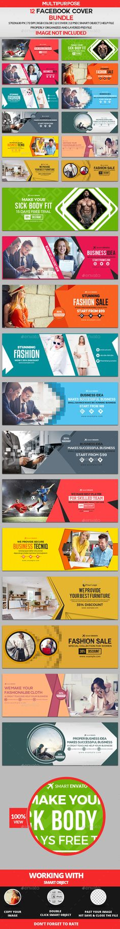 Facebook Cover Templates PSD Bundle - 12 Design