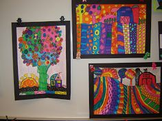 4th grade artists are learning about the contemporary artist Heather Galler, Folk Art, and Landscapes. We created our own landscapes in the...