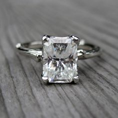 Radiant Forever Brilliant Moissanite Twig Engagement Ring, Carved Floral Setting (1.7ct) from Kristin Coffin Jewelry