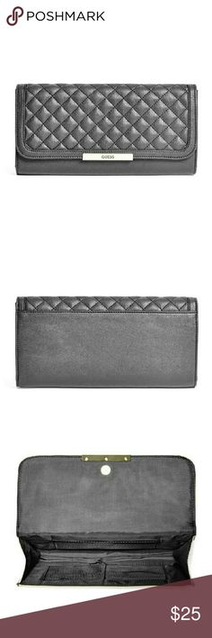 """GUESS leather wallet 100% ORIGINAL, STYLE, QUALITY.   Faux-leather clutch with front logo detail and textured envelope flap closure. Interior features wall pocket and 6 card slots.  10""""W x 5""""H Guess Bags Wallets"""