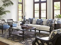 Blue And White Colonial Wingback Living Room