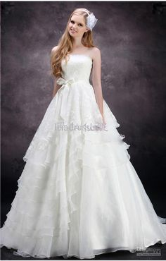 Wholesale 2012 New Wedding Dress Tulle Strapless Straight Neckline Lace Empire Bow Beaded Mermaid Bridal Gown, Free shipping, $89.6-134.4/Piece | DHgate