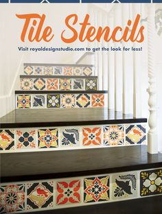 Tile Stencils come in wide range of sizes and design styles. Use large tile stencils on walls and floors, and small tile stencils for faux tile backsplashes, table tops, and furniture. Medium sized tile stencils are perfect for stenciling on pillows. DIY Faux Tiles, Mexican Tile, Talavera Tiles, Painted Floor Tile - Royal Design Studio Tile Stencils