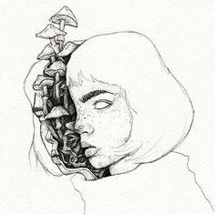 Split Art Print by Mike Koubou - X-Small Dark Art Drawings, Art Drawings Sketches, Cool Drawings, Arte Grunge, Grunge Art, Surealism Art, Arte Sketchbook, Hippie Art, Psychedelic Art
