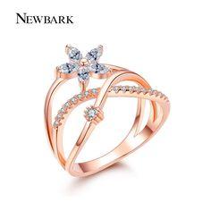Newbark delicado anillo de dedo de la flor rosa y oro blanco plateó pavimentada tiny zirconia cz joyas para regalos del día de san valentín