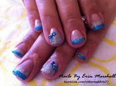 Silver and teal blue glitter Acrylic Nail art