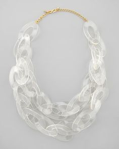 Kenneth Jay Lane Clear Lucite Link Necklace from Neiman Marcus