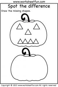 spot the difference halloween activity worksheet pumpkin worksheet - Halloween Preschool Activities