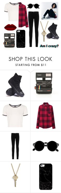 """Style Icon #1: Alessia Cara"" by steph-seagull ❤ liked on Polyvore featuring Converse, Polaroid, Topshop, Uniqlo, AG Adriano Goldschmied, Retrò, The Giving Keys, Casetify, women's clothing and women's fashion"
