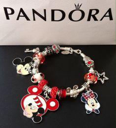 Authentic pandora european charm bracelet, red Mickey Mouse