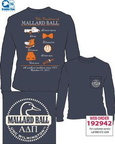 """Mallard Ball shirt we made for our chapter Alpha Delta Pi - Eta Alpha. """"A southern tradition since 1851"""" with bean boots, bow ties, hunting gear, monograms etc."""