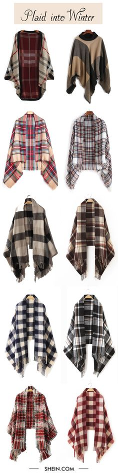 Must-have plaid for winter. Start with plaid scarf, Easy into fashion with any plaid outfit. Shein design.
