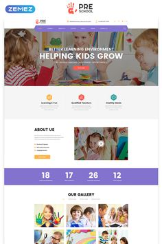 Preschool – Education Multipage Clean HTML Website Template - New Site Preschool Education, Education Quotes For Teachers, Elementary Education, Business Education, Business School, Website Design Inspiration, School Website Templates, Marketing Website, Custom Website Design
