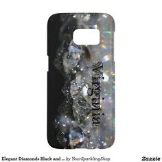 Elegant Diamonds Black and White Shiny Sparkles Custom Name Virginia, Case, add your name