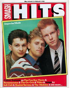 Depeche Mode on the cover of Smash Hits magazine 1982
