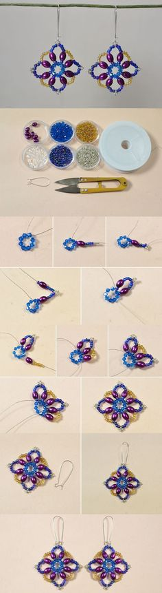 DIY a Pair of Handmade Colorful Flower Beaded Drop Earrings
