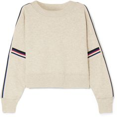 Isabel Marant Étoile Kao striped knitted sweater (24.270 RUB) ❤ liked on Polyvore featuring tops, sweaters, light gray, colorful striped sweater, striped sleeve sweater, striped sweater, light gray sweater and colorful sweaters