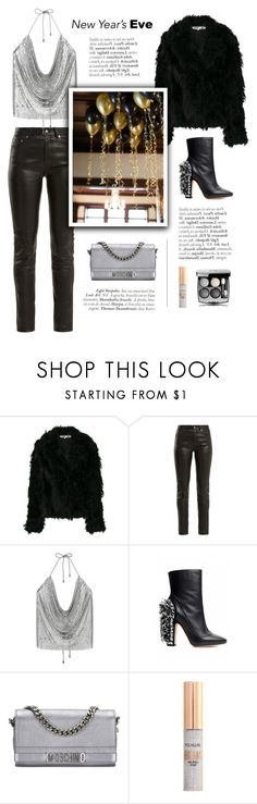 """""""New Year's eve"""" by little-vogue ❤ liked on Polyvore featuring McQ by Alexander McQueen, Yves Saint Laurent, Rochas, Moschino, Chanel, polyvoreeditorial and NewYearsEve"""