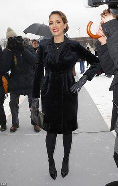 Jessica Alba arrives to Christian Dior Haute Couture Spring 2013 show