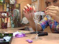 ▶ Школа дизайна №15 Свадебные бокалы в романтическом стиле 20 09 13 - YouTube