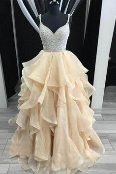 A-Line Straps Backless Tiered Organza Beaded Prom Dress-pgmdress