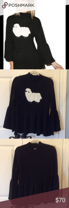 Wildfox Counting Sheep Gusset Sweater EUC Super cute sheep Sweater!  Has bell sleeves and peplum.  Only worn once.  No flaws. Wildfox Sweaters Crew & Scoop Necks