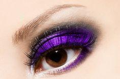 neon purple and smokey eye