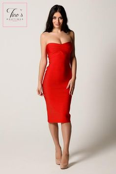 'Aurora' Red Strapless Bandage Dress