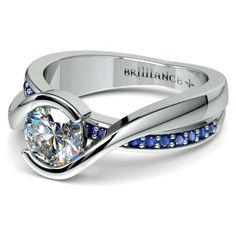 Bezel Sapphire Gemstone Bridge Engagement Ring in Platinum   Image 04
